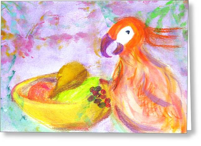 Passion Fruit Paintings Greeting Cards - A Parrot and the Passion Fruit Greeting Card by Michela Akers