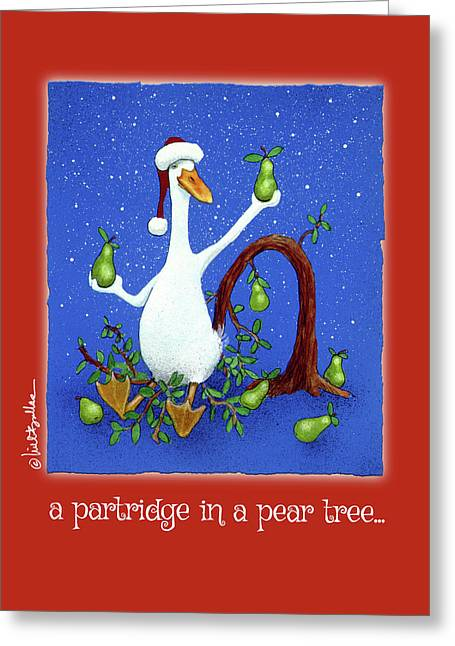 A Partridge In A Pear Tree... Greeting Card by Will Bullas