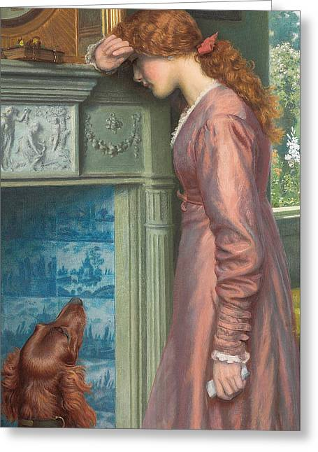 Woman Crying Greeting Cards - A Passing Cloud Greeting Card by Arthur Hughes