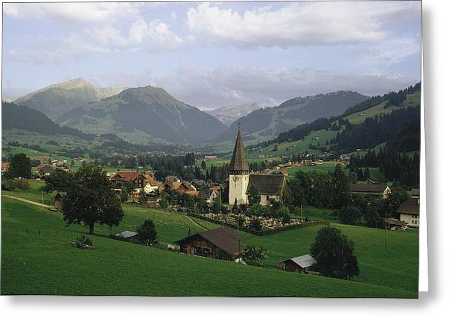 Religious Structure Greeting Cards - A Pastoral View Of A Village Greeting Card by James P. Blair