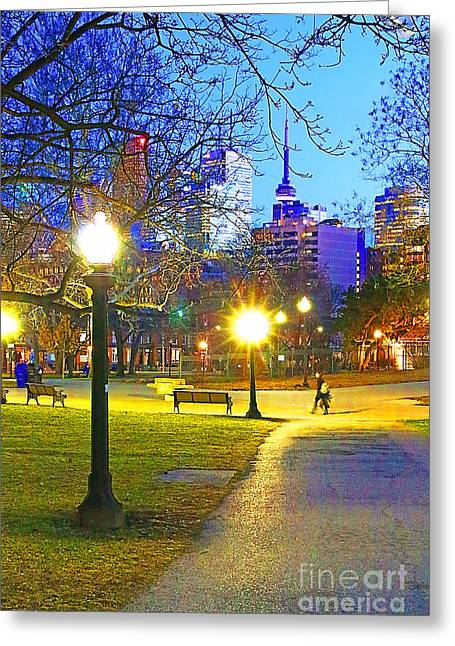 City Lights Greeting Cards - A Path Through the Park  Greeting Card by Mike Longley