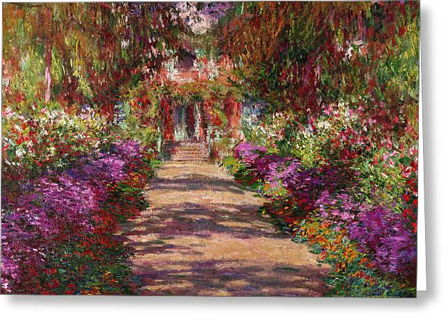 Line Paintings Greeting Cards - A Pathway in Monets Garden Giverny Greeting Card by Claude Monet