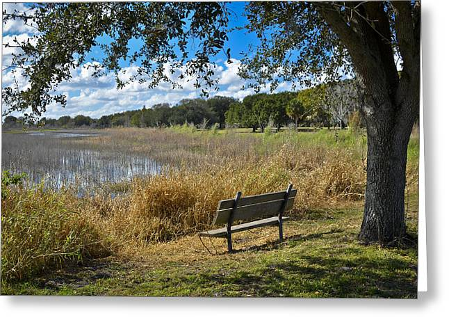 Park Benches Greeting Cards - A Peaceful Place Greeting Card by Carolyn Marshall