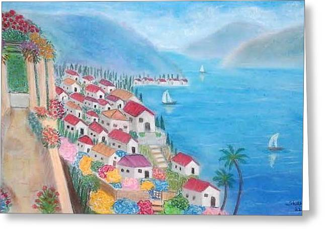 Italian Landscape Pastels Greeting Cards - A Peaceful Retreat in Italy Greeting Card by Shikha Narula