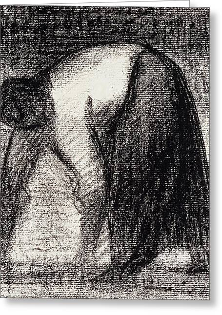 Charcoal Pastels Greeting Cards - A Peasant Woman with Hands in the Ground Greeting Card by Georges Pierre Seurat