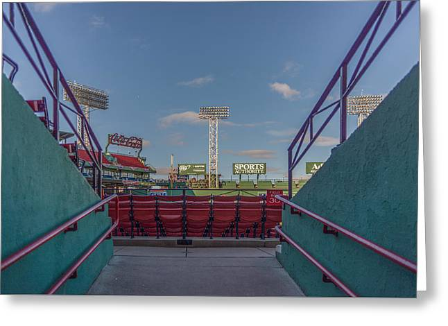 Fenway Park Greeting Cards - A peek at the monstah Greeting Card by Bryan Xavier