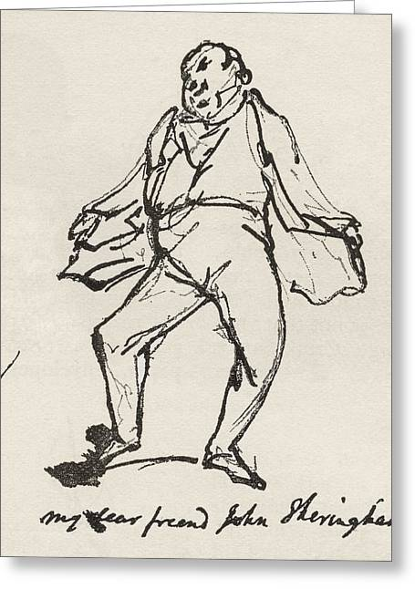 Cruikshank Greeting Cards - A Pen And Ink Sketch By George Greeting Card by Ken Welsh