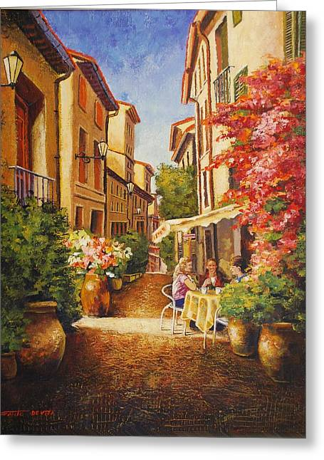 Provence Village Greeting Cards - A Perfect Afternoon In Provence Greeting Card by Santo De Vita