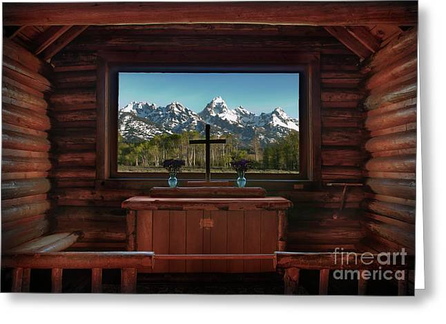 A Pew With A View Greeting Card by Sandra Bronstein