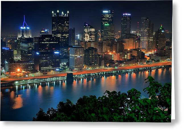 Roberto Greeting Cards - A Photographic Pittsburgh Night Greeting Card by Frozen in Time Fine Art Photography