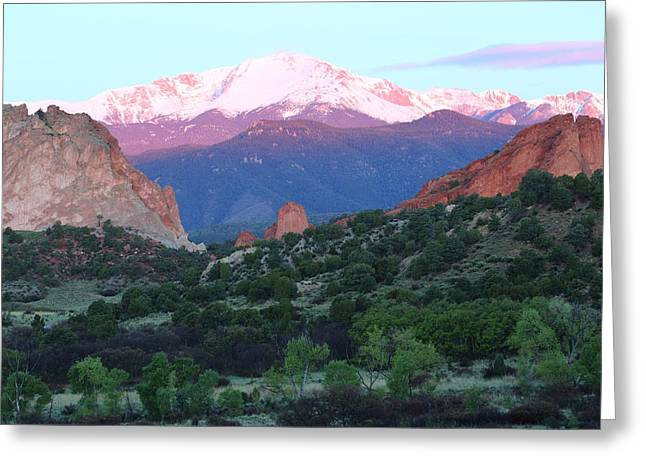 America The Beautiful Greeting Cards - A Pikes Peak Sunrise Greeting Card by Eric Glaser