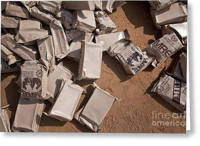 Close To People Greeting Cards - A Pile Of Meals Ready To Eat Lies Greeting Card by Stocktrek Images