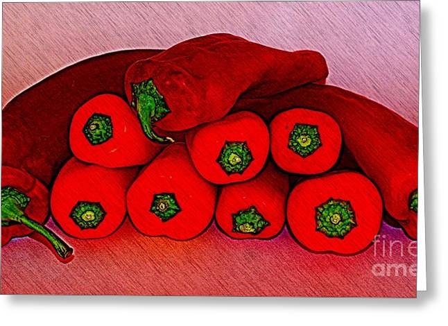 Interior Still Life Mixed Media Greeting Cards - A Pile of Peppers Greeting Card by Clare Bevan