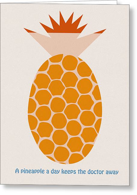 A Pineapple A Day Keeps The Doctor Away Greeting Card by Frank Tschakert