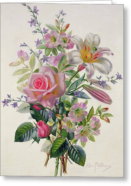 Roses In Bud Greeting Cards - A Pink Bouquet Greeting Card by Albert Williams