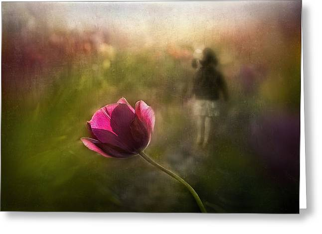 Pink Tulip Greeting Cards - A Pink Childhood Memory Greeting Card by Shenshen Dou