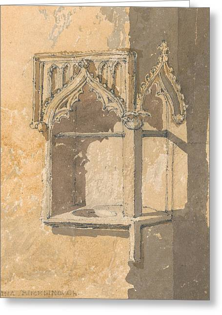 A Piscina In Blickling Church, Norfolk Greeting Card by John Sell Cotman