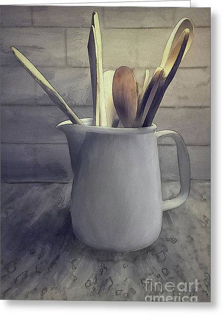 A Pitcher Of Spoons Greeting Card by Lois Bryan