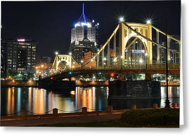 Monongahela Duquesne Incline Greeting Cards - A Pittsburgh Panorama Greeting Card by Frozen in Time Fine Art Photography