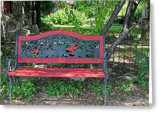 Quite Greeting Cards - A Place to Rest in a Country Garden Greeting Card by Linda Phelps