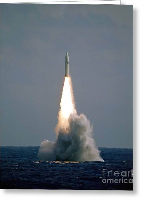 Nuclear Warfare Greeting Cards - A Polaris A3 Fleet Ballistic Missile Greeting Card by Stocktrek Images