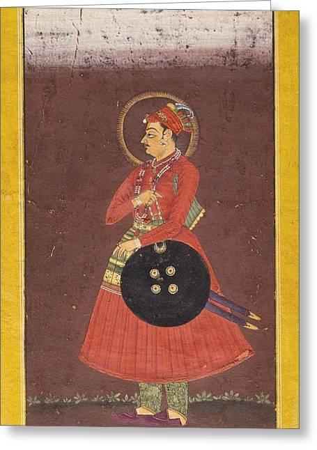 Ram Singh Greeting Cards - A Portait Of Maharaja Ram Singh Of Bikaner Greeting Card by Celestial Images