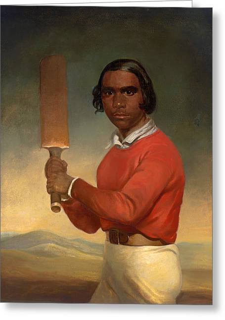 Cricket Paintings Greeting Cards - A Portrait Of Nannultera - A Young Poonindie Cricketer  Greeting Card by Jim Crossland