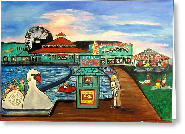 Asbury Park Paintings Greeting Cards - A Postcard Memory Greeting Card by Patricia Arroyo
