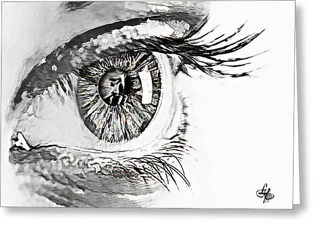Eyebrow Greeting Cards - A Prayerful Eye Greeting Card by Lynda Payton