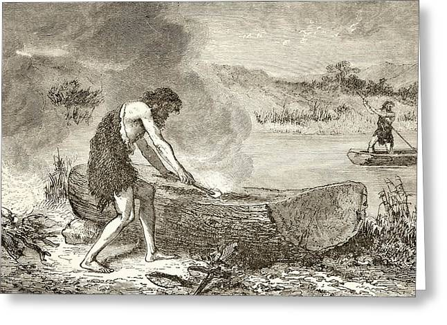 Canoe Drawings Greeting Cards - A Prehistoric Man Using Fire To Fashion Greeting Card by Ken Welsh