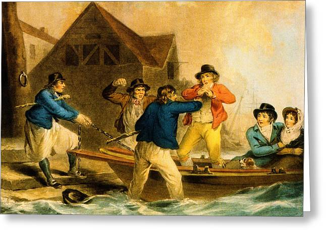 Schooner Greeting Cards - A Press Gang Seizes a Sailor into the British Navy  Greeting Card by W Ward