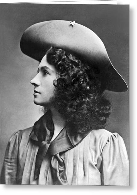 Cowgirl And Cowboy Greeting Cards - A profile portrait of sharpshooter Annie Oakley Greeting Card by American School