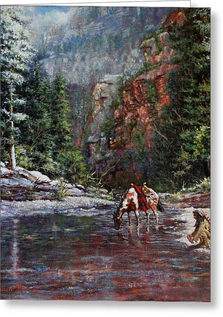 Stream Greeting Cards - A Prospectors Pan Greeting Card by Harvie Brown