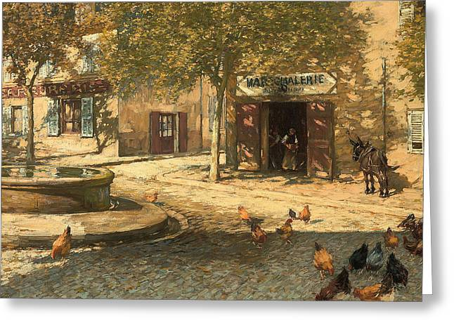 Clucking Greeting Cards - A Provencal Forge Greeting Card by Henry Herbert La Thangue