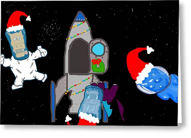 Character Portraits Greeting Cards - A PuppyDragon Christmas in Space Greeting Card by Jera Sky