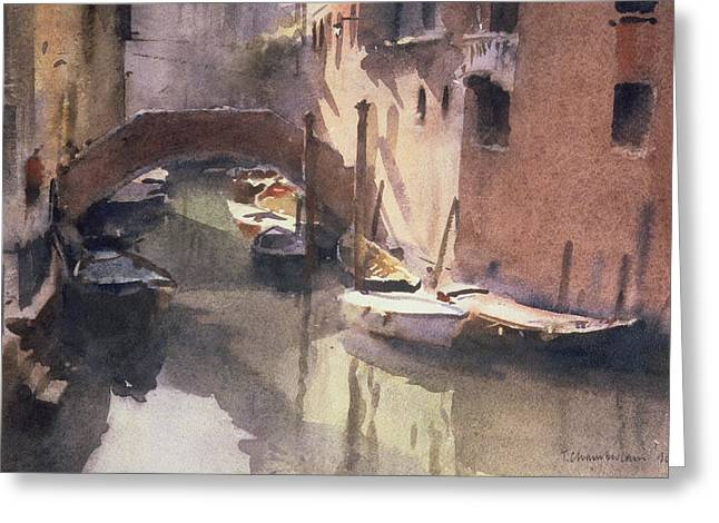Reflecting Water Greeting Cards - A Quiet Canal in Venice Greeting Card by Trevor Chamberlain