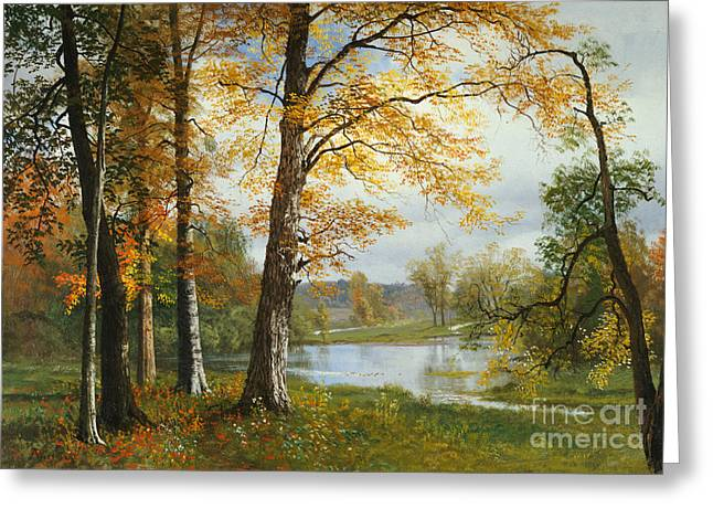 Country Schools Greeting Cards - A Quiet Lake Greeting Card by Albert Bierstadt