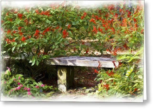 Park Benches Greeting Cards - A Quiet Place Greeting Card by Carolyn Marshall