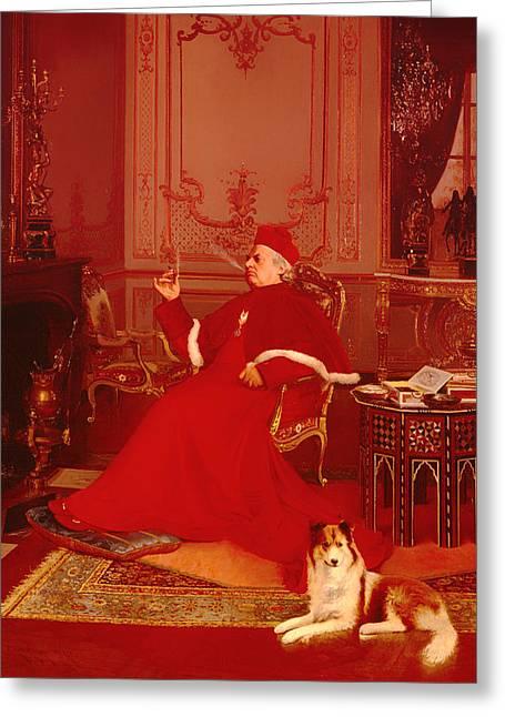 Catholic work Paintings Greeting Cards - A Quiet Smoke Greeting Card by Georges Croegaert