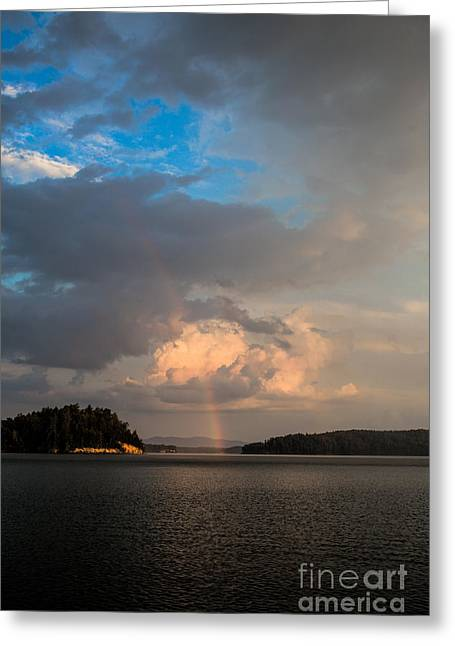 Sunset Posters Greeting Cards - A Rainbow at Lake James Greeting Card by Robert Loe