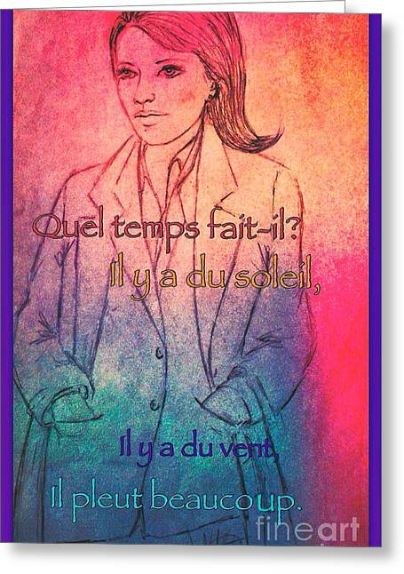Parisienne Mixed Media Greeting Cards - A Raincoat in Paris Greeting Card by Joan-Violet Stretch