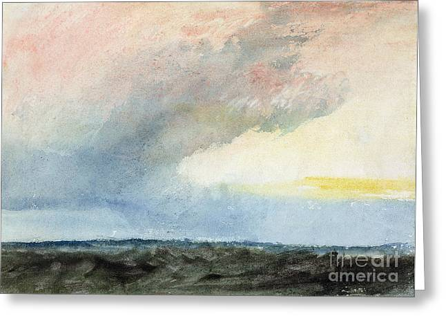 Turner Greeting Cards - A Rainstorm at Sea Greeting Card by Joseph Mallord William Turner