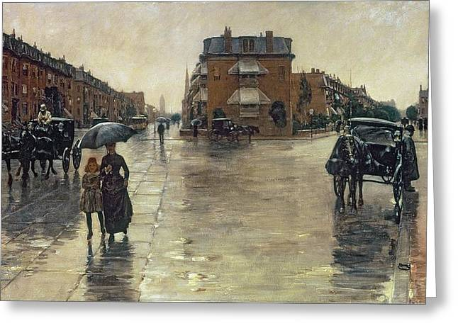 A Rainy Day in Boston Greeting Card by Childe Hassam