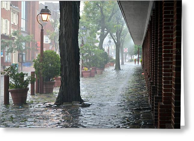 Raining Greeting Cards - A Rainy Street in Philadelphia Greeting Card by Mike Stanfield