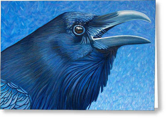 Raven Greeting Cards - A Ravens Prayer Greeting Card by Brian  Commerford