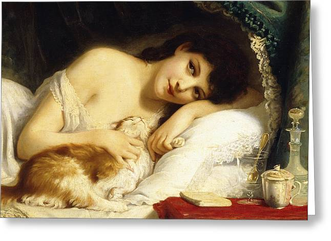 A Reclining Beauty With Her Cat Greeting Card by Fritz Zuber-Buhler