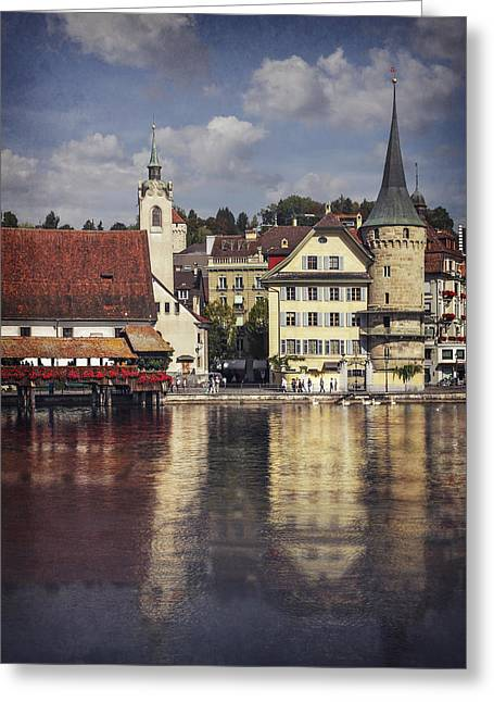 Altstadt Greeting Cards - A Reflection of Lucerne Greeting Card by Carol Japp
