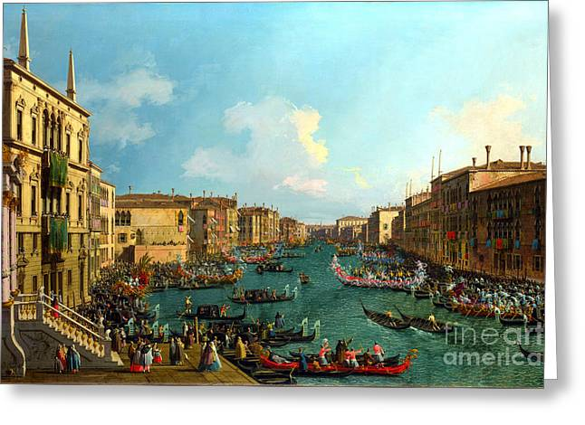 A Regatta On The Grand Canal By Canaletto Greeting Card by Pg Reproductions