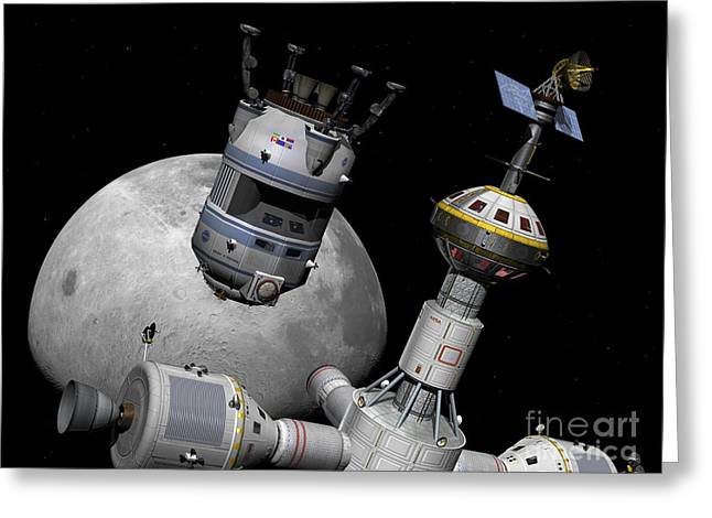 Space Probes Greeting Cards - A Reusable Lunar Shuttle Prepares Greeting Card by Walter Myers
