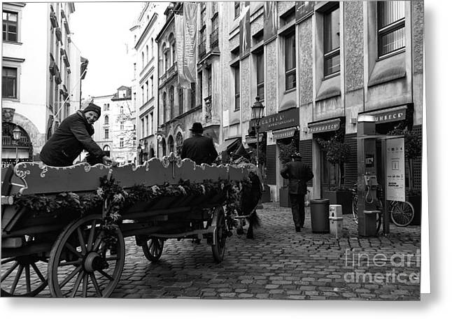 Wagon Sales Greeting Cards - A Ride in Munich Greeting Card by John Rizzuto